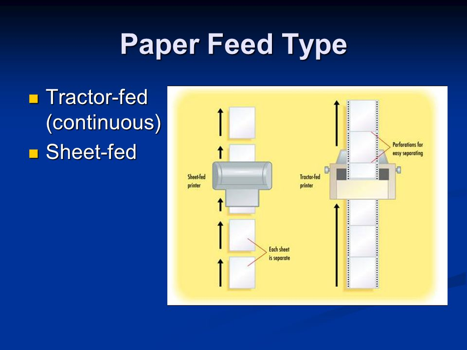 Paper Feed Type Tractor-fed (continuous) Sheet-fed