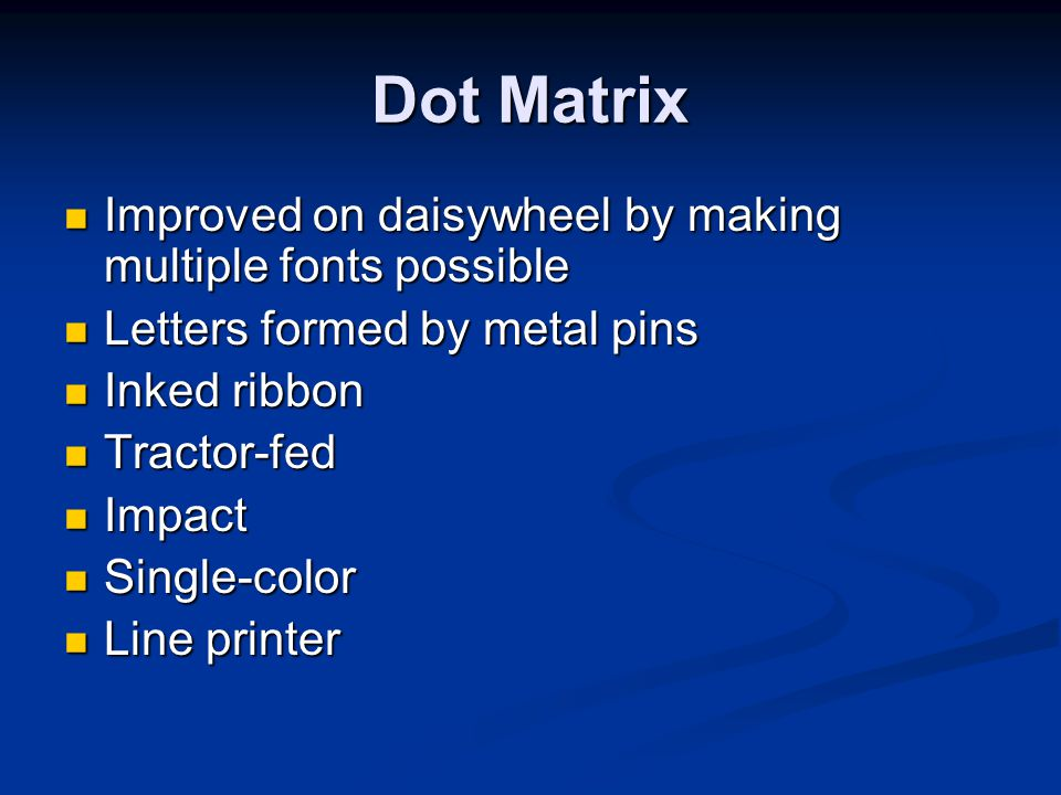 Dot Matrix Improved on daisywheel by making multiple fonts possible