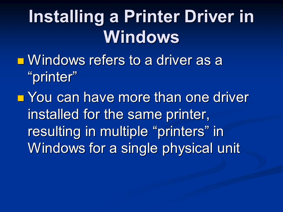 Installing a Printer Driver in Windows
