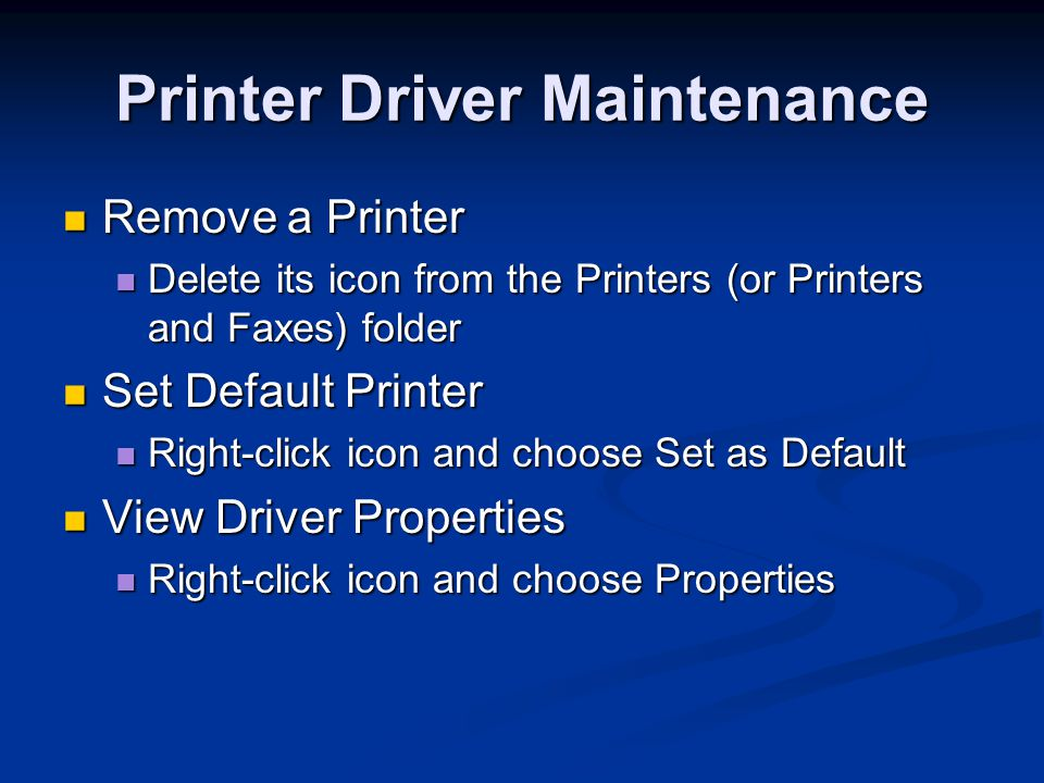Printer Driver Maintenance