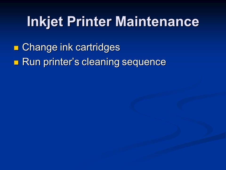 Inkjet Printer Maintenance