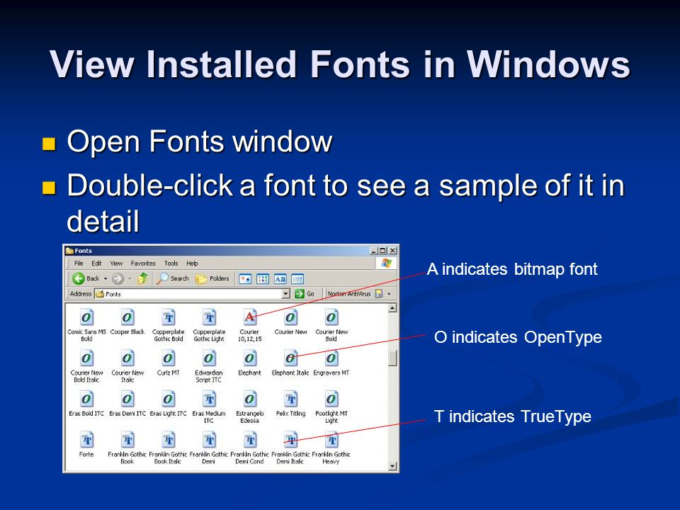 View Installed Fonts in Windows