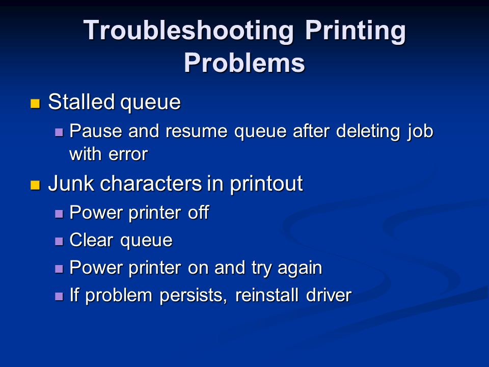 Troubleshooting Printing Problems