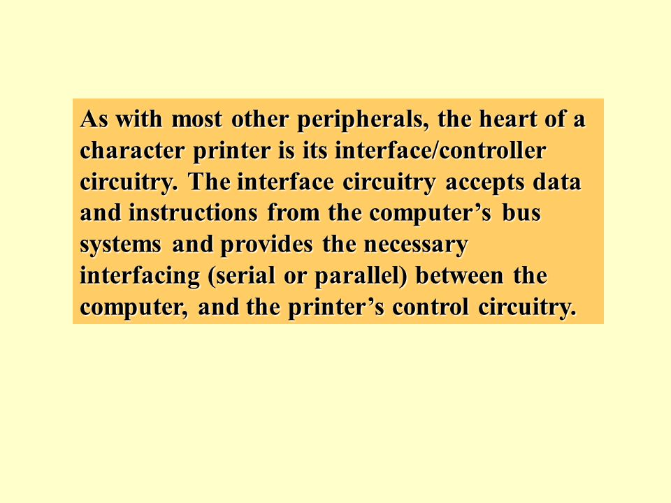As with most other peripherals, the heart of a character printer is its interface/controller circuitry.