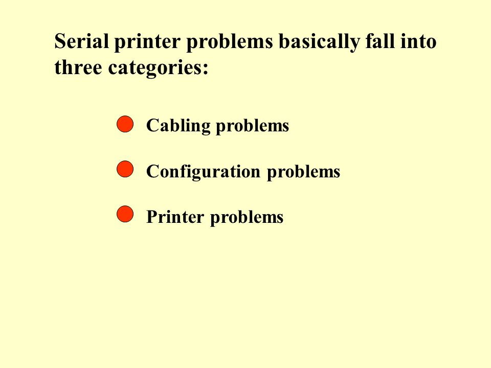 Serial printer problems basically fall into three categories: