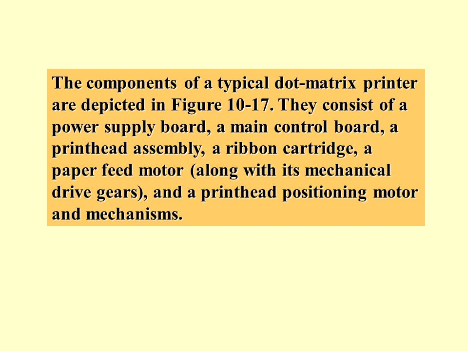 The components of a typical dot-matrix printer are depicted in Figure 10-17.