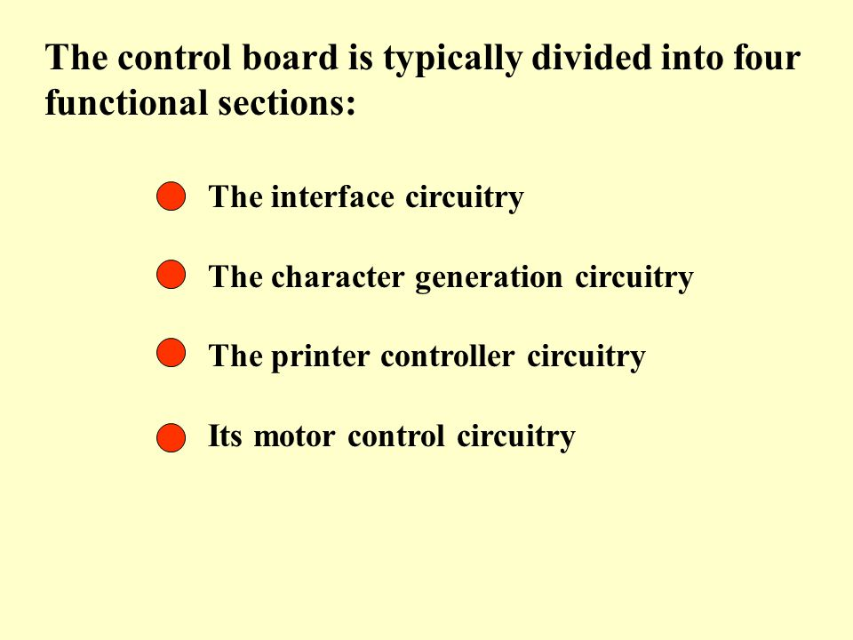 The control board is typically divided into four functional sections: