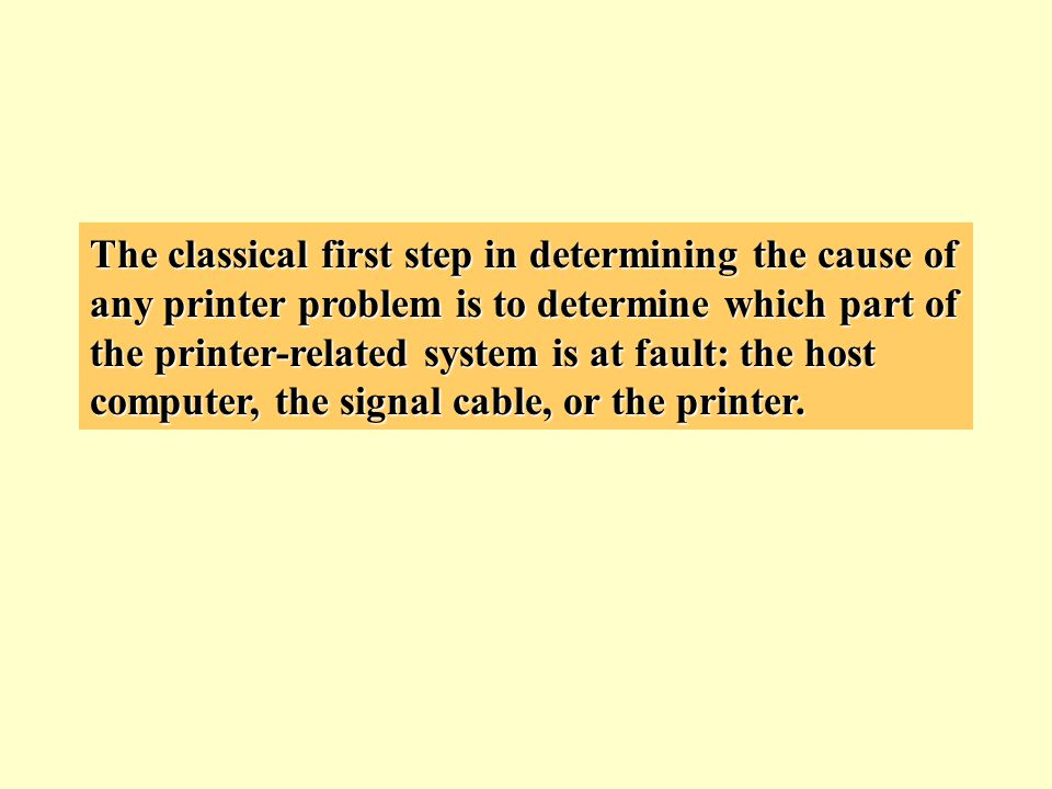 The classical first step in determining the cause of any printer problem is to determine which part of the printer-related system is at fault: the host computer, the signal cable, or the printer.