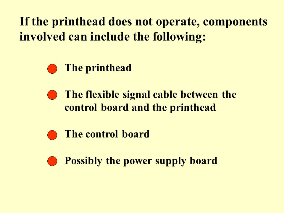 If the printhead does not operate, components involved can include the following: