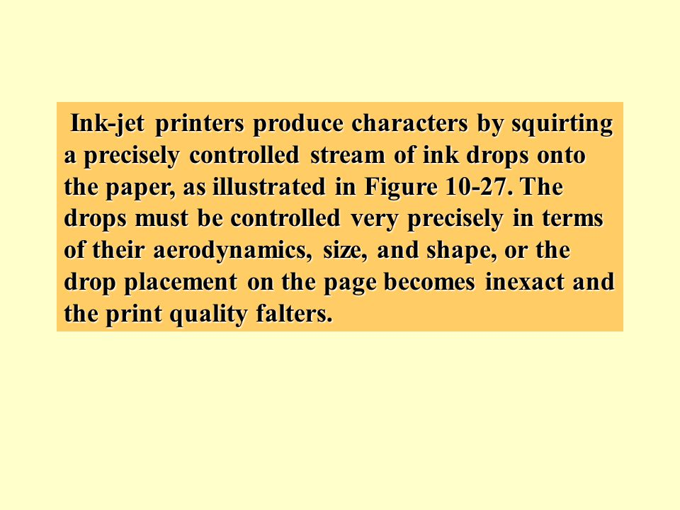 Ink-jet printers produce characters by squirting a precisely controlled stream of ink drops onto the paper, as illustrated in Figure 10-27.