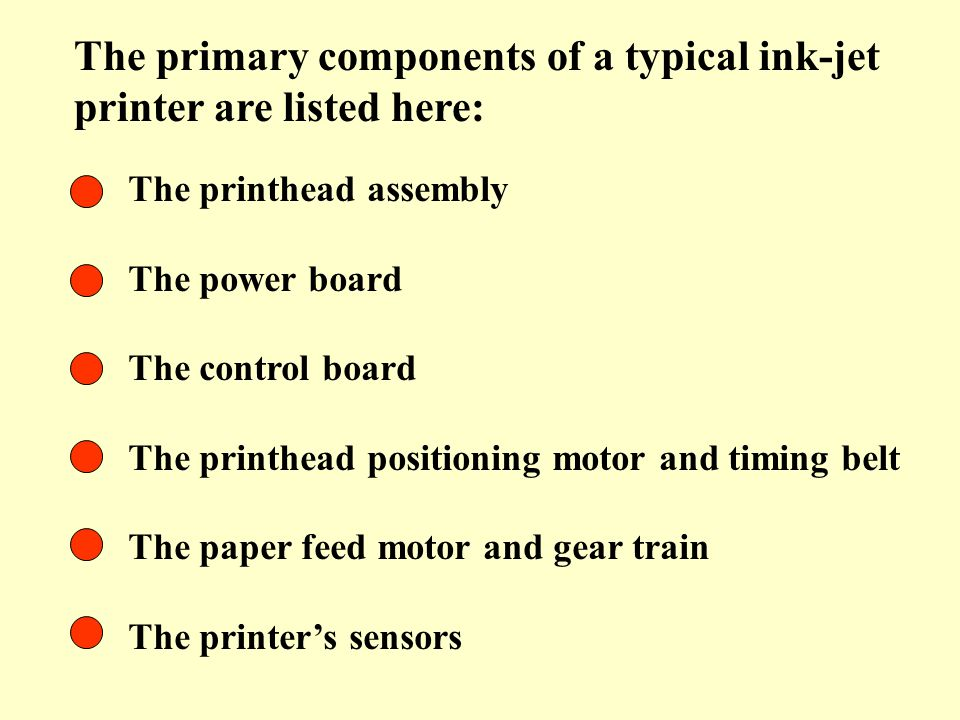 The primary components of a typical ink-jet printer are listed here: