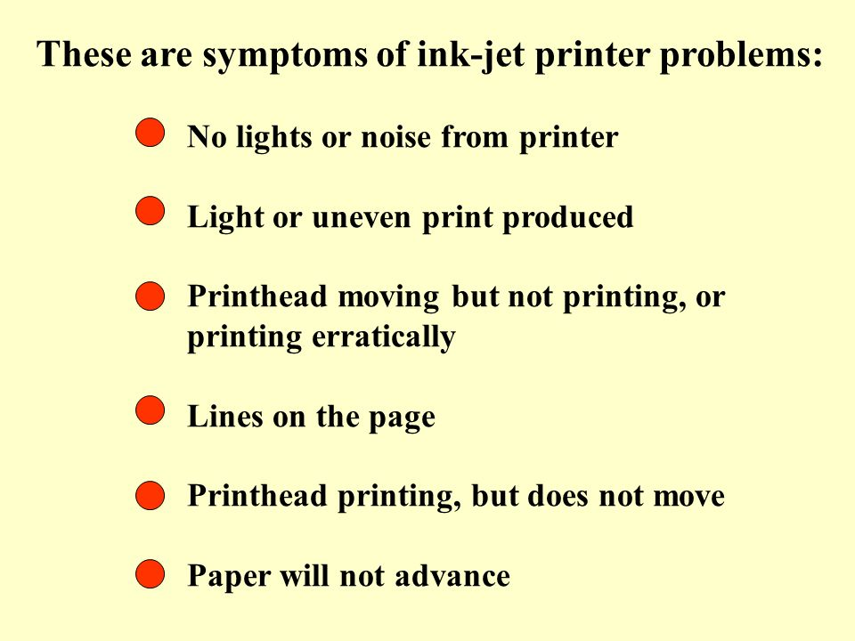 These are symptoms of ink-jet printer problems:
