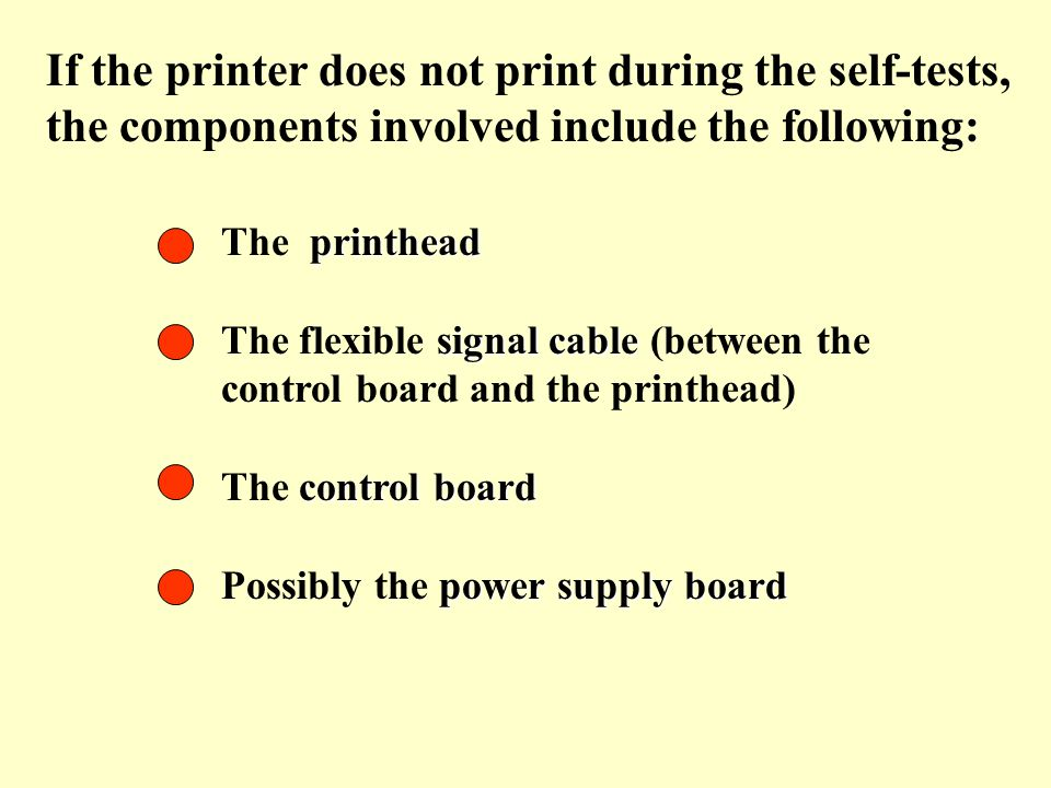 If the printer does not print during the self-tests, the components involved include the following: