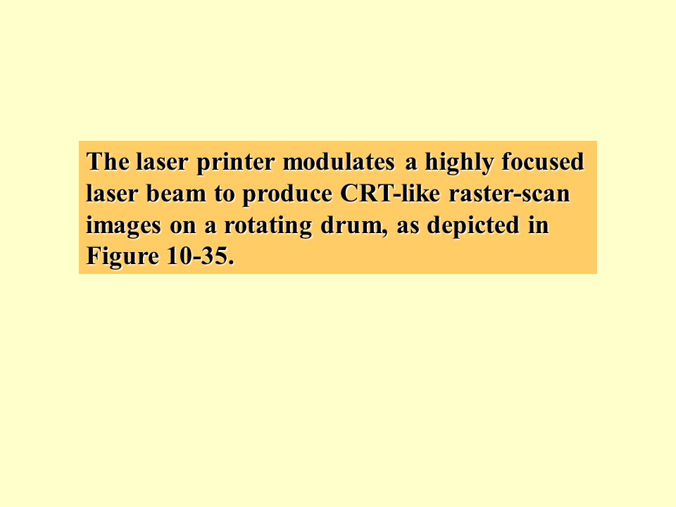 The laser printer modulates a highly focused laser beam to produce CRT-like raster-scan images on a rotating drum, as depicted in Figure 10-35.