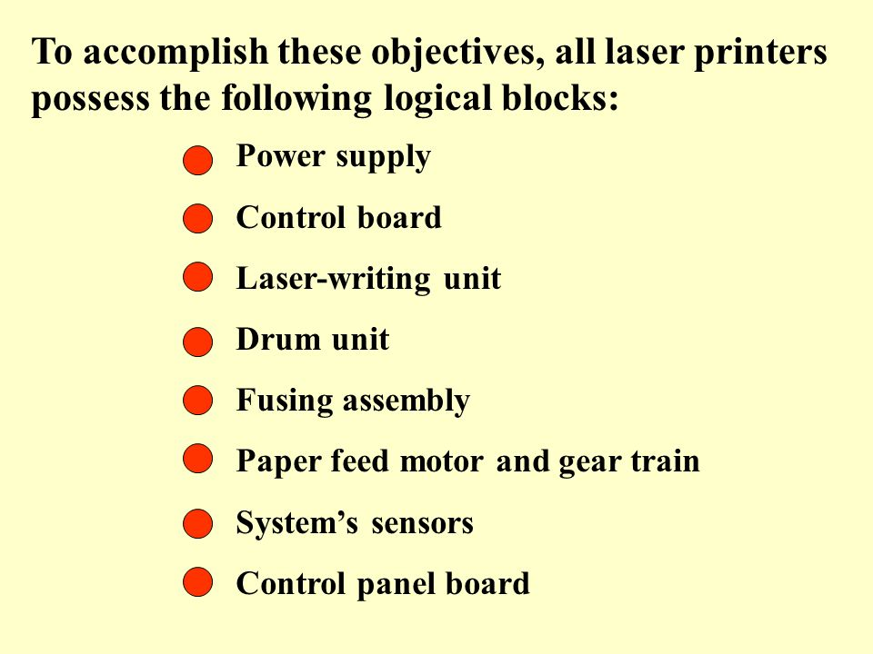 To accomplish these objectives, all laser printers possess the following logical blocks: