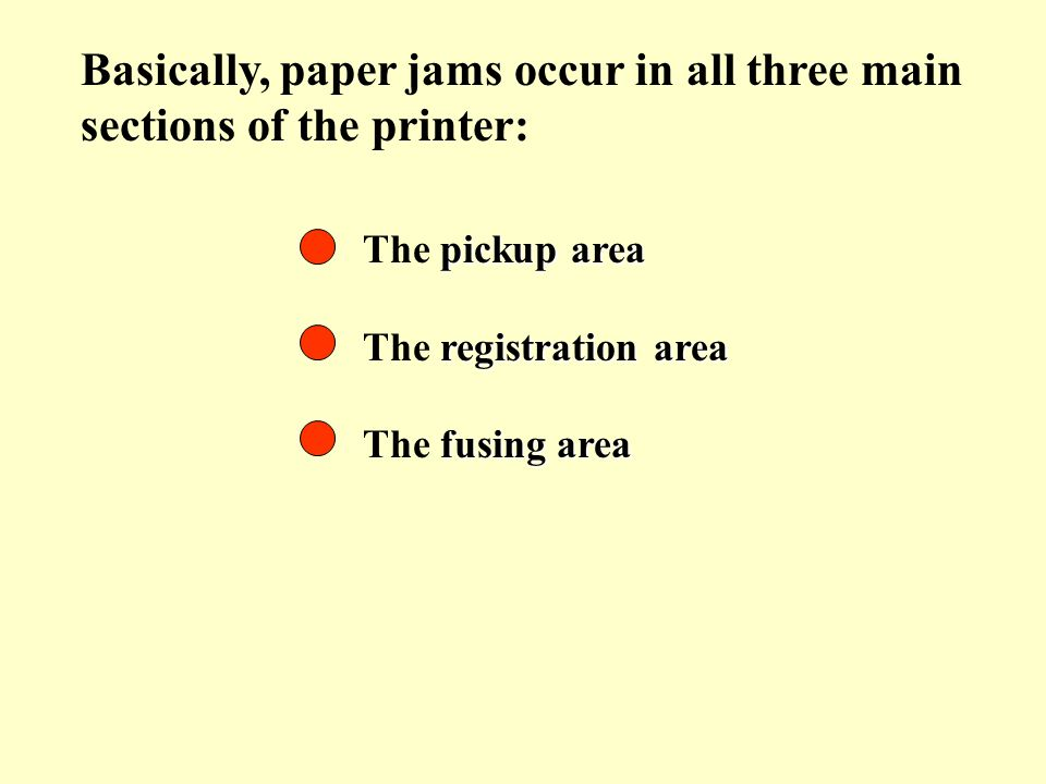 Basically, paper jams occur in all three main sections of the printer: