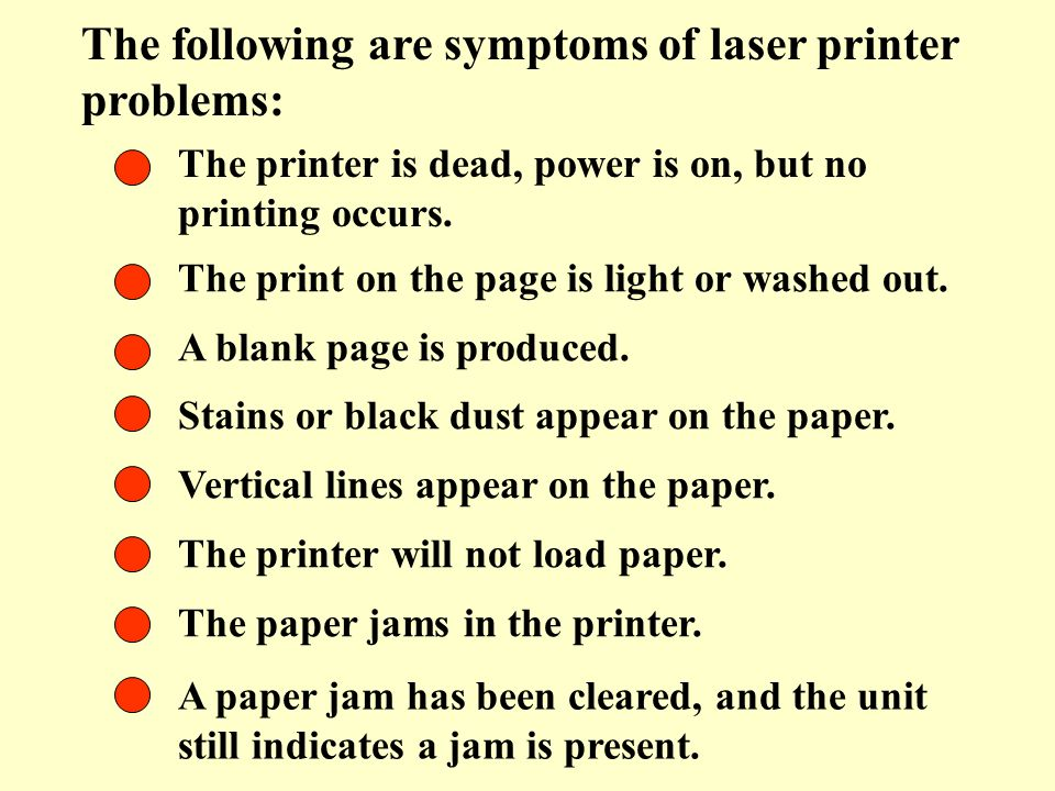 The following are symptoms of laser printer problems: