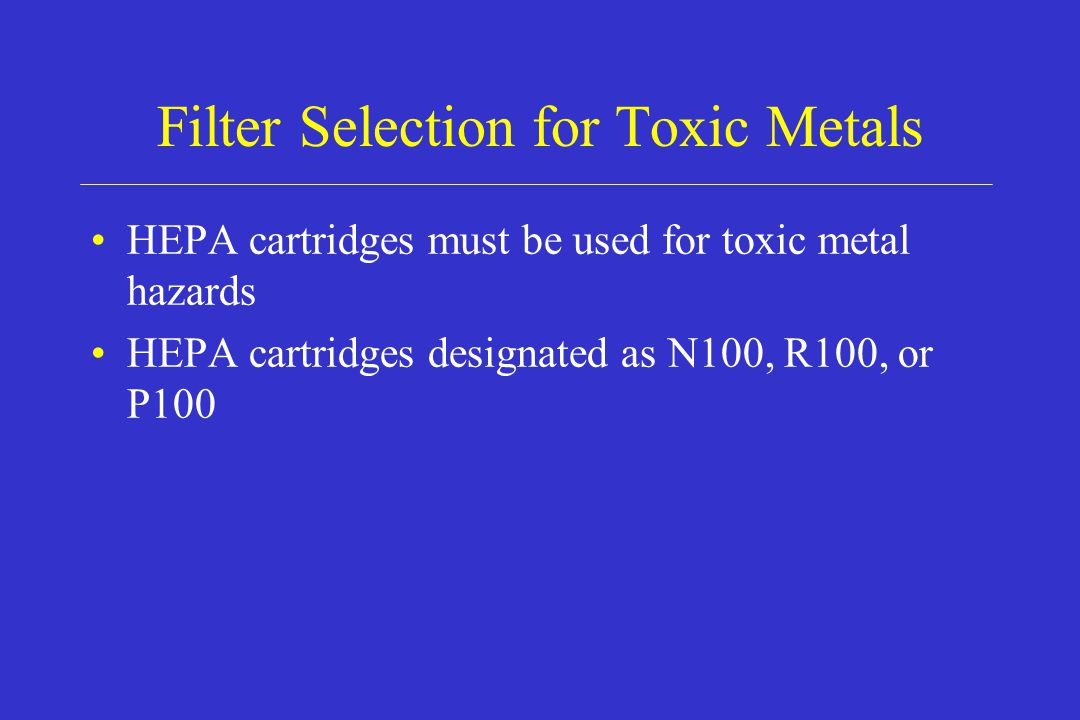 Filter Selection for Toxic Metals