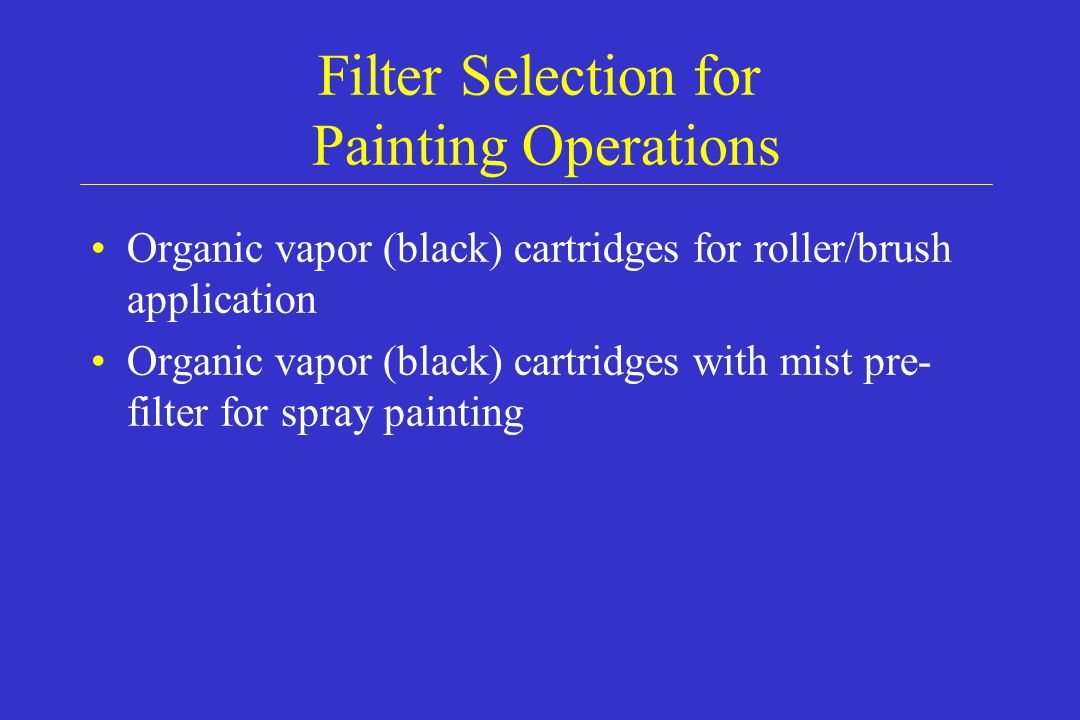 Filter Selection for Painting Operations