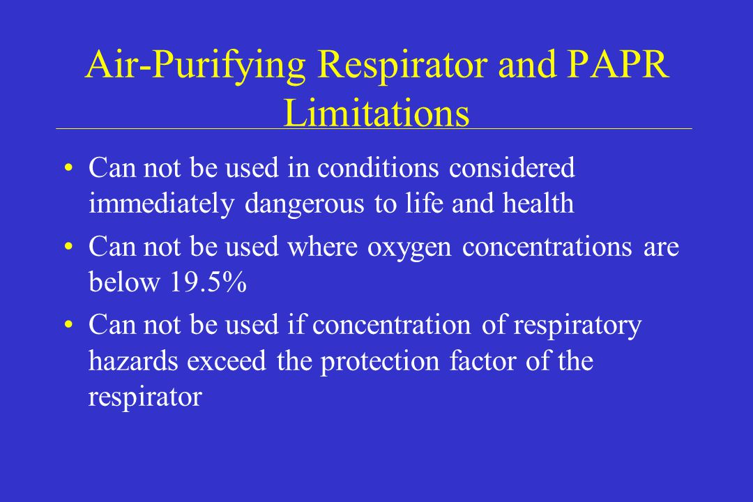 Air-Purifying Respirator and PAPR Limitations