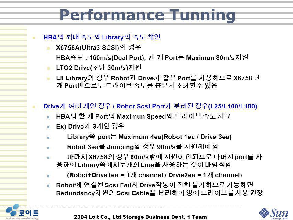 Performance Tunning HBA의 최대 속도와 Library의 속도 확인 X6758A(Ultra3 SCSI)의 경우