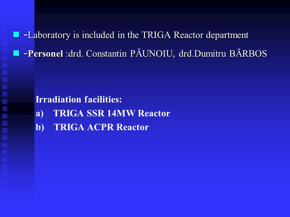 -Laboratory is included in the TRIGA Reactor department