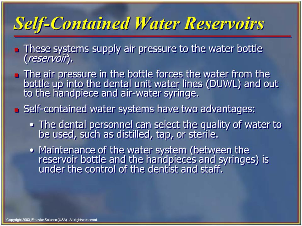 Self-Contained Water Reservoirs