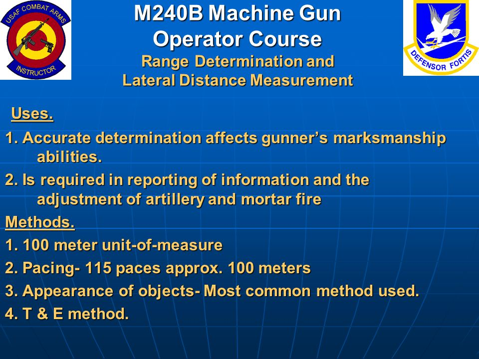 M240B Machine Gun Operator Course Range Determination and Lateral Distance Measurement