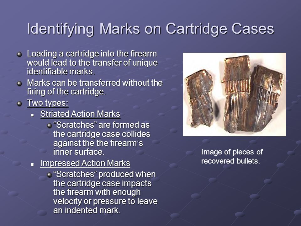 Identifying Marks on Cartridge Cases