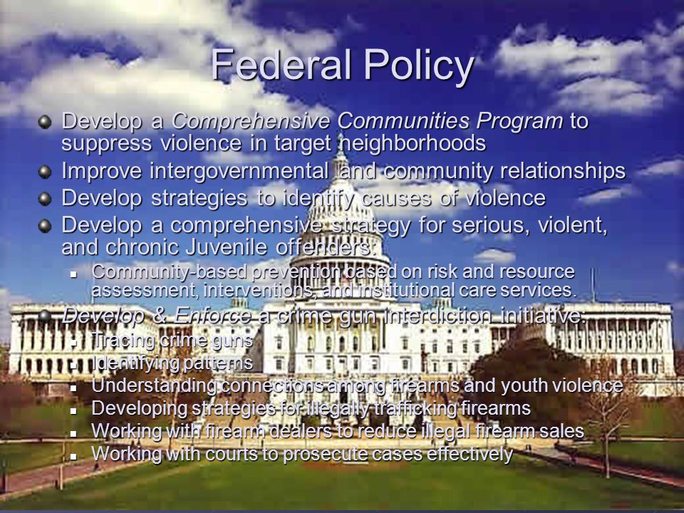 Federal Policy Develop a Comprehensive Communities Program to suppress violence in target neighborhoods.