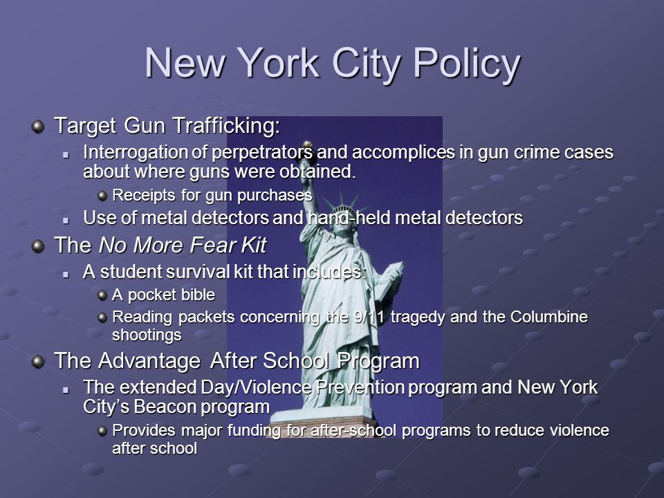 New York City Policy Target Gun Trafficking: The No More Fear Kit