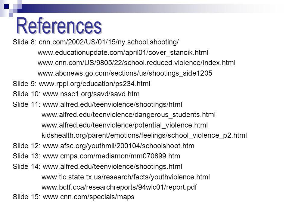 References Slide 8: cnn.com/2002/US/01/15/ny.school.shooting/