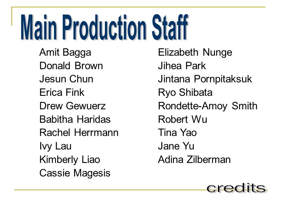 Main Production Staff Amit Bagga Donald Brown Jesun Chun Erica Fink