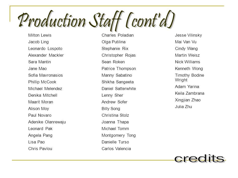 Production Staff (cont d)