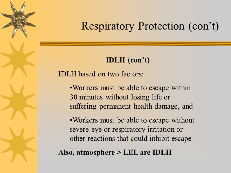 Respiratory Protection (con't)