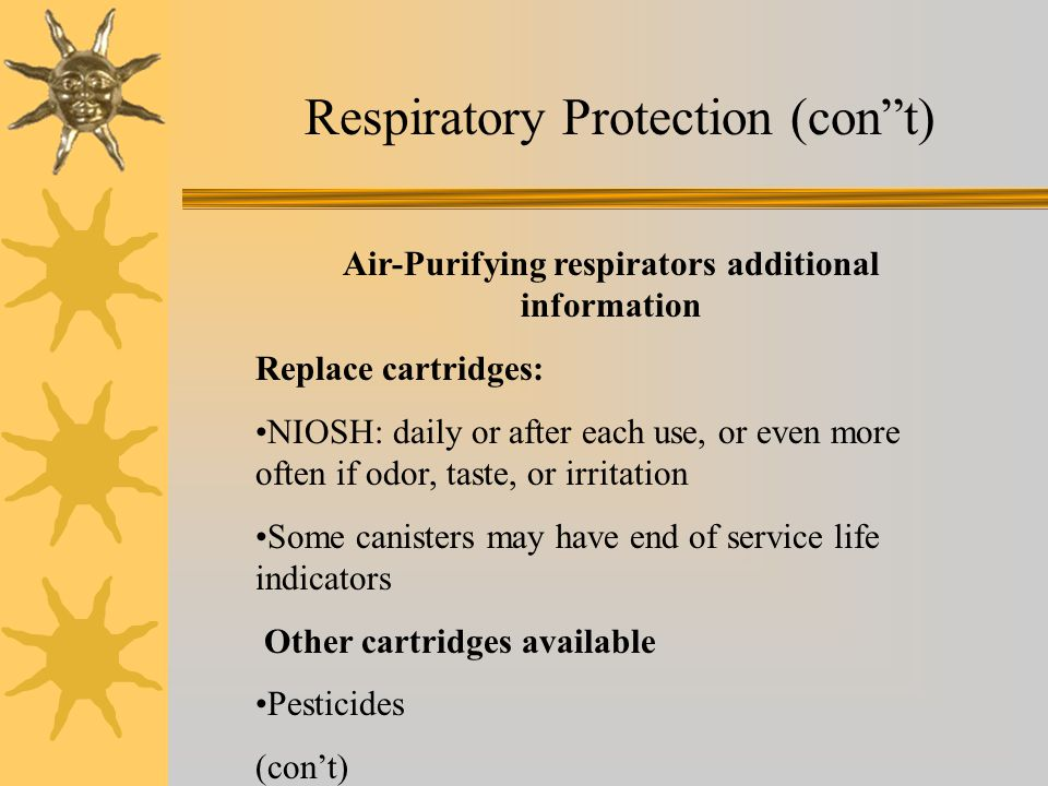 Respiratory Protection (con t)