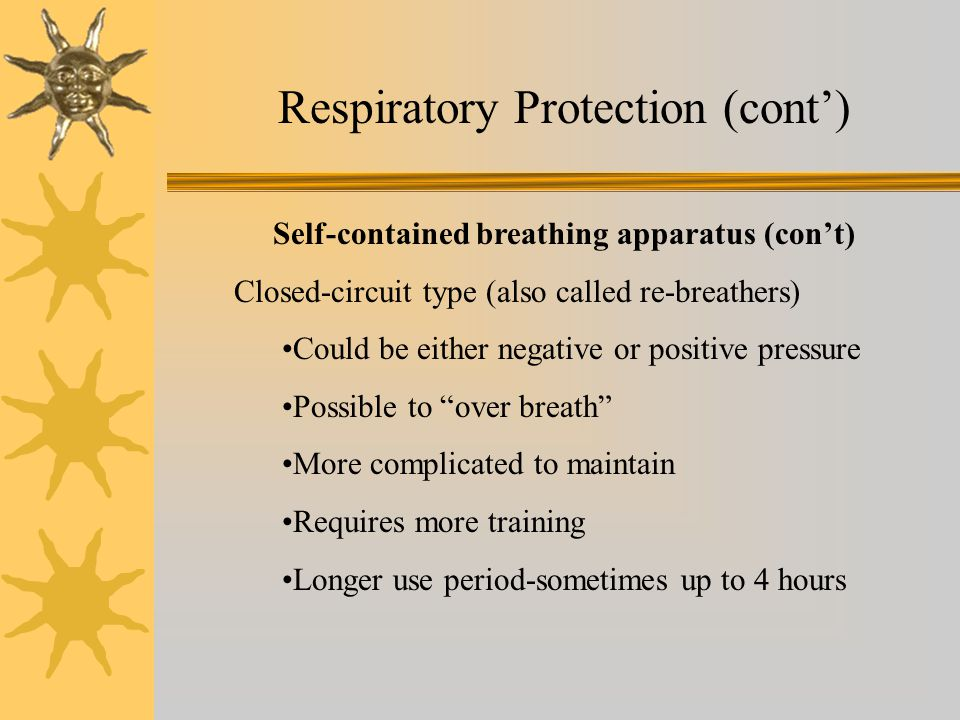 Self-contained breathing apparatus (con't)