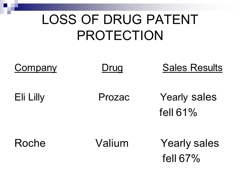 LOSS OF DRUG PATENT PROTECTION