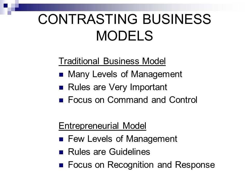 CONTRASTING BUSINESS MODELS