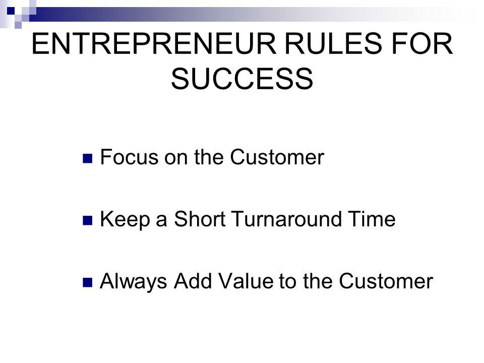 ENTREPRENEUR RULES FOR SUCCESS