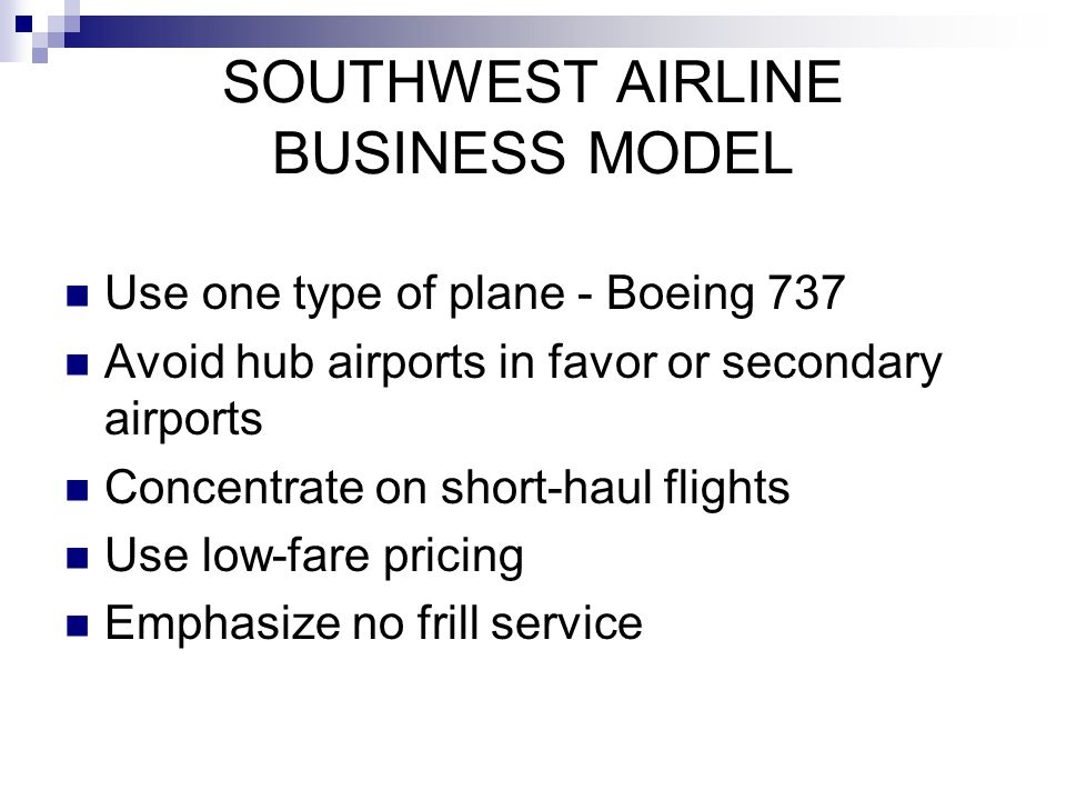 SOUTHWEST AIRLINE BUSINESS MODEL