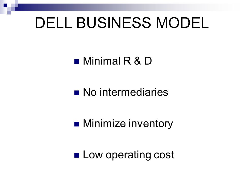 DELL BUSINESS MODEL Minimal R & D No intermediaries Minimize inventory