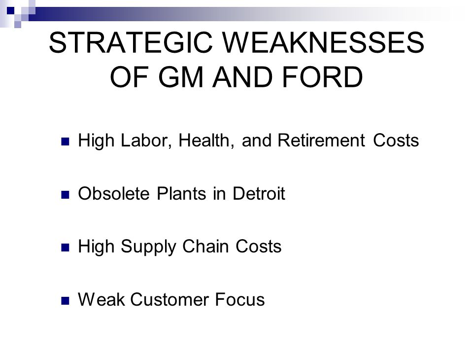 STRATEGIC WEAKNESSES OF GM AND FORD
