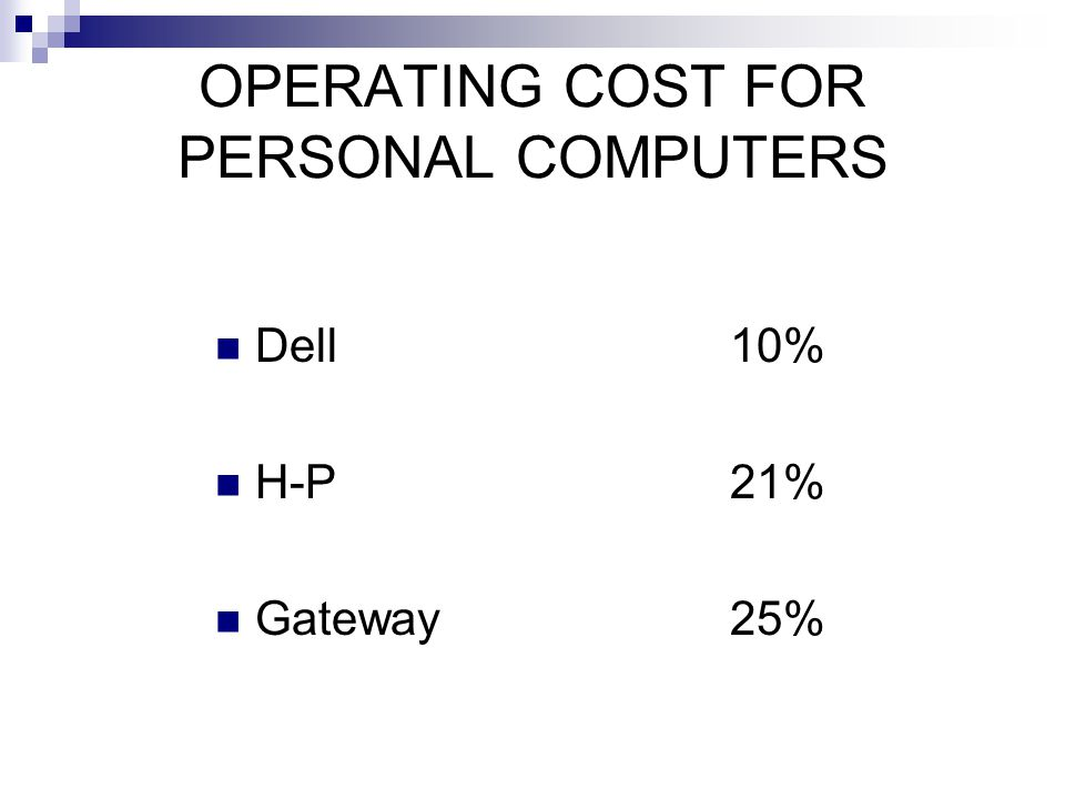 OPERATING COST FOR PERSONAL COMPUTERS