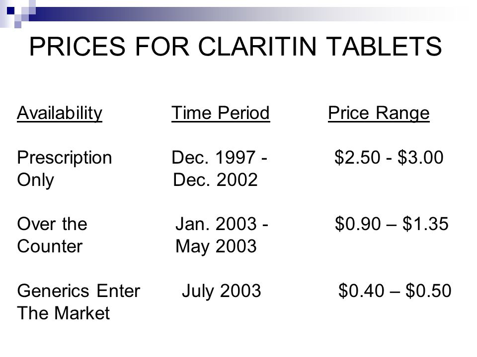 PRICES FOR CLARITIN TABLETS