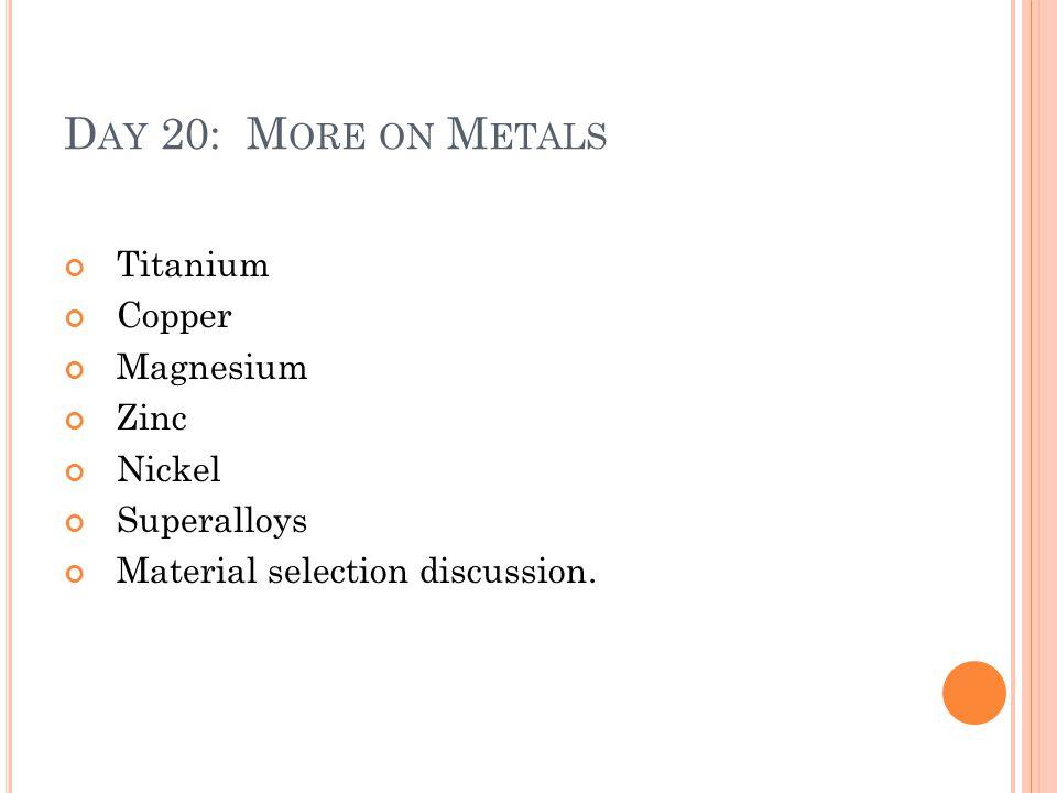 Day 20: More on Metals Titanium Copper Magnesium Zinc Nickel
