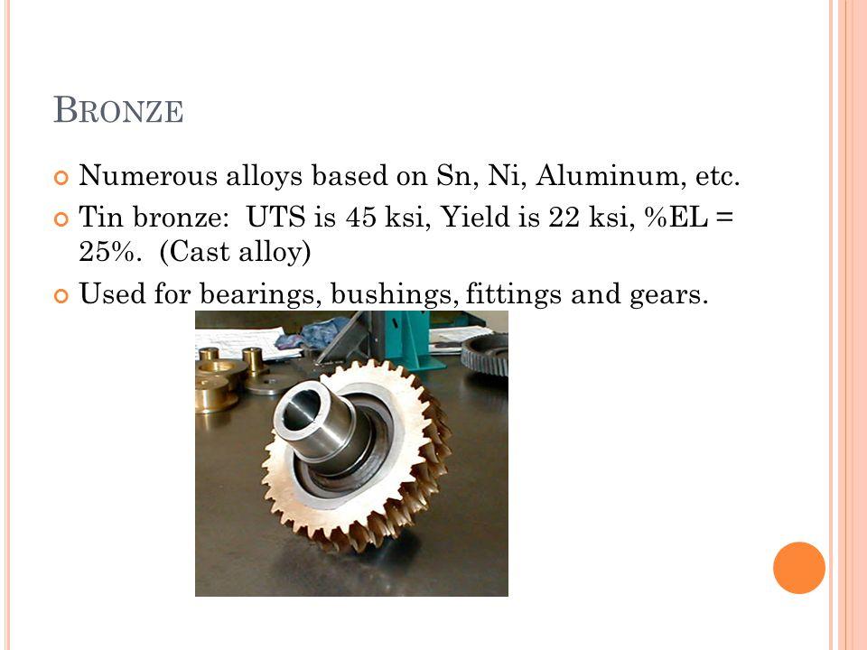 Bronze Numerous alloys based on Sn, Ni, Aluminum, etc.