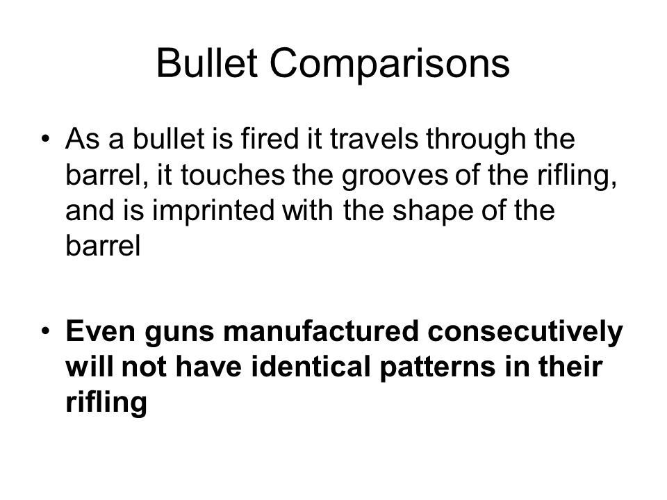 Bullet Comparisons