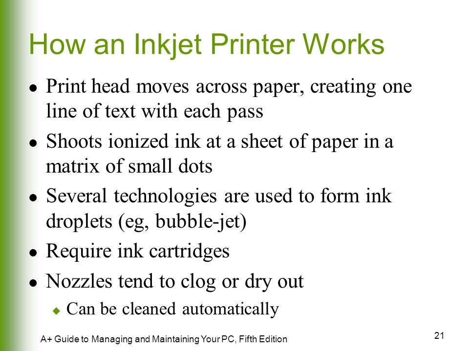 How an Inkjet Printer Works