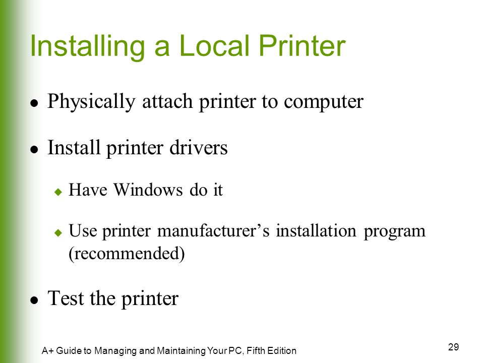 Installing a Local Printer